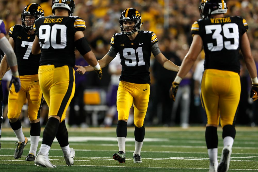 Iowa Hawkeyes place kicker Miguel Recinos (91) against the Northern Iowa Panthers Saturday, September 15, 2018 at Kinnick Stadium. (Brian Ray/hawkeyesports.com)