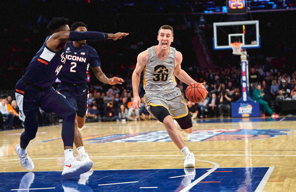 Iowa Hawkeyes guard Connor McCaffery (30) against UConn in the Championship game of the 2K Empire Classic Friday, November 16, 2018 at Madison Square Garden in New York City. (Duncan H.Williams/Freelance)