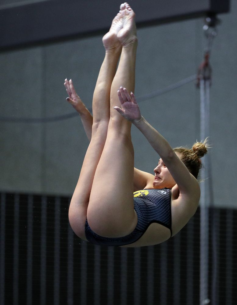 IowaÕs Samantha Tamborski competes on the 3-meter springboard against the Michigan Wolverines Friday, November 1, 2019 at the Campus Recreation and Wellness Center. (Brian Ray/hawkeyesports.com)