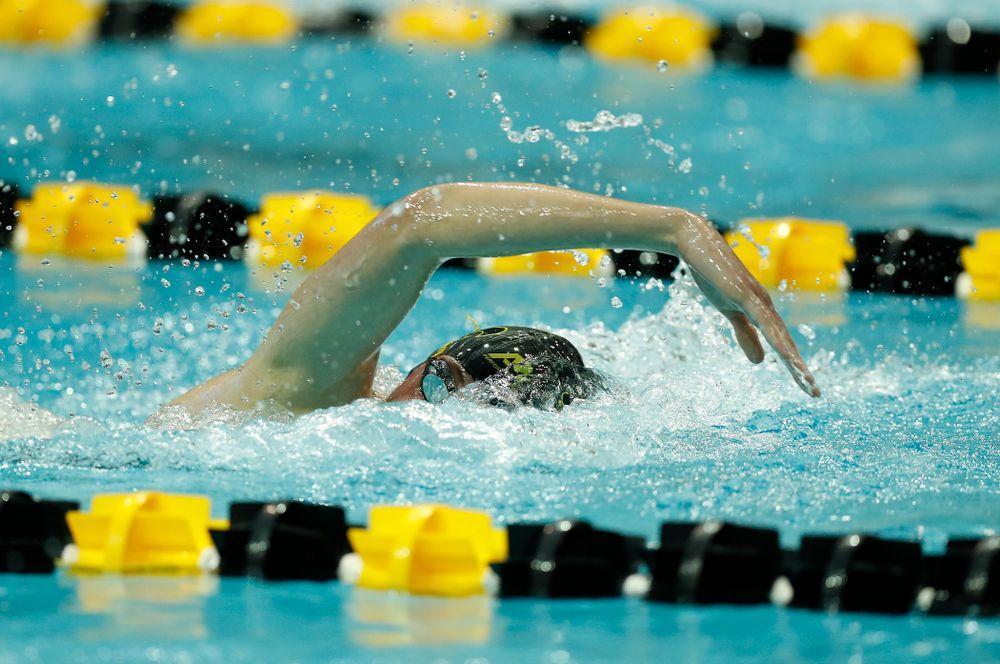 Iowa's Allyssa Fluit swims the 200 yard freestyle