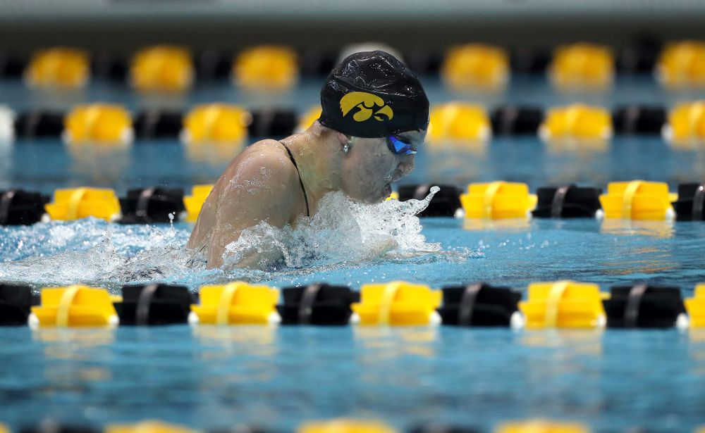 IowaÕs Sage Ohlensehlen swims the 200 yard breaststroke against the Michigan Wolverines Friday, November 1, 2019 at the Campus Recreation and Wellness Center. (Brian Ray/hawkeyesports.com)