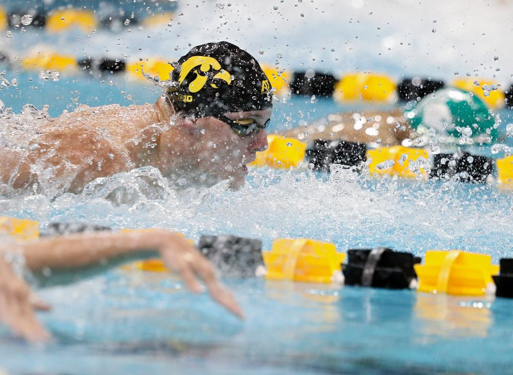 Iowa's Will Myhre swims the men's 50-yard butterfly event during their meet against Michigan State at the Campus Recreation and Wellness Center in Iowa City on Thursday, Oct 3, 2019. (Stephen Mally/hawkeyesports.com)