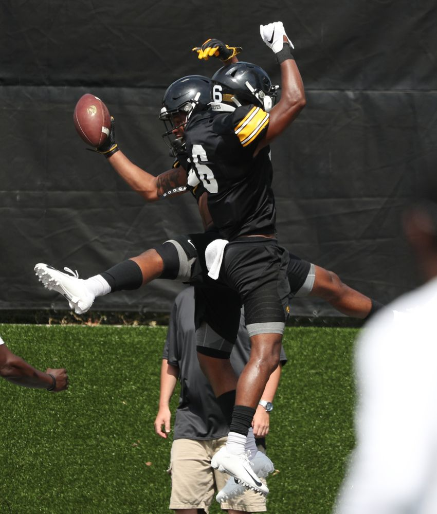 Iowa Hawkeyes wide receiver Tyrone Tracy Jr. (3) and wide receiver Ihmir Smith-Marsette (6) during Fall Camp Practice No. 4 Monday, August 5, 2019 at the Ronald D. and Margaret L. Kenyon Football Practice Facility. (Brian Ray/hawkeyesports.com)