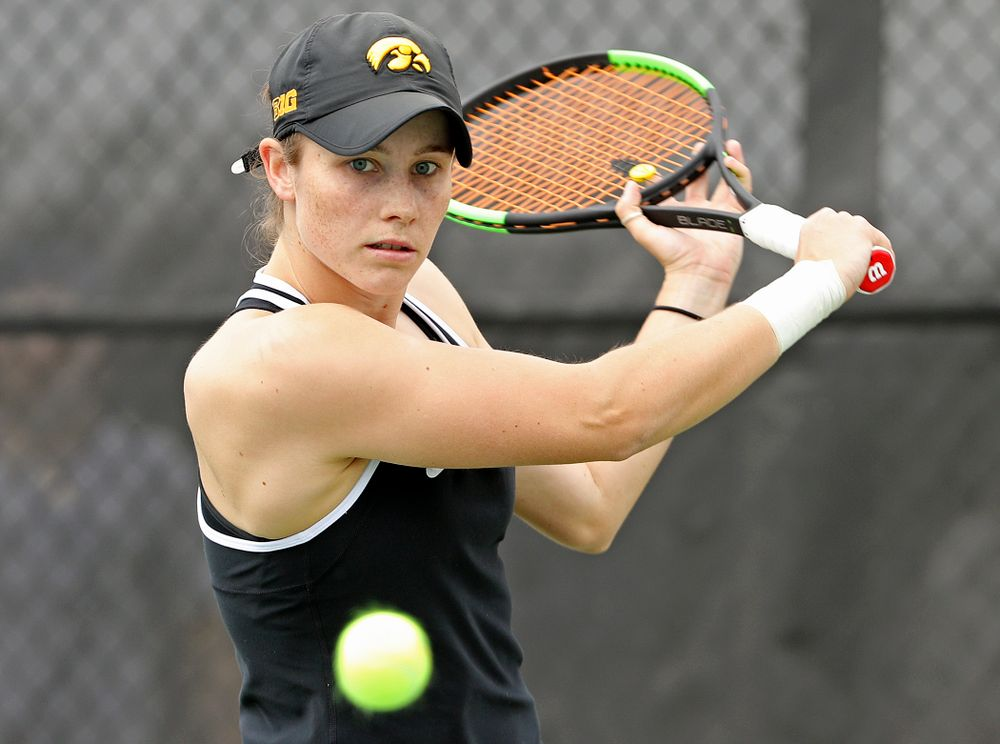 Iowa's Elise van Heuvelen Treadwell eyes the ball during a match against Rutgers at the Hawkeye Tennis and Recreation Complex in Iowa City on Friday, Apr. 5, 2019. (Stephen Mally/hawkeyesports.com)