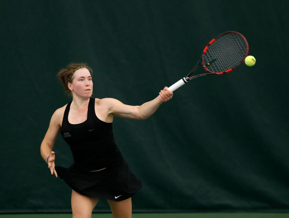 Anastasia Reimchen against Ohio State Sunday, March 25, 2018 at the Hawkeye Tennis and Recreation Center. (Brian Ray/hawkeyesports.com)