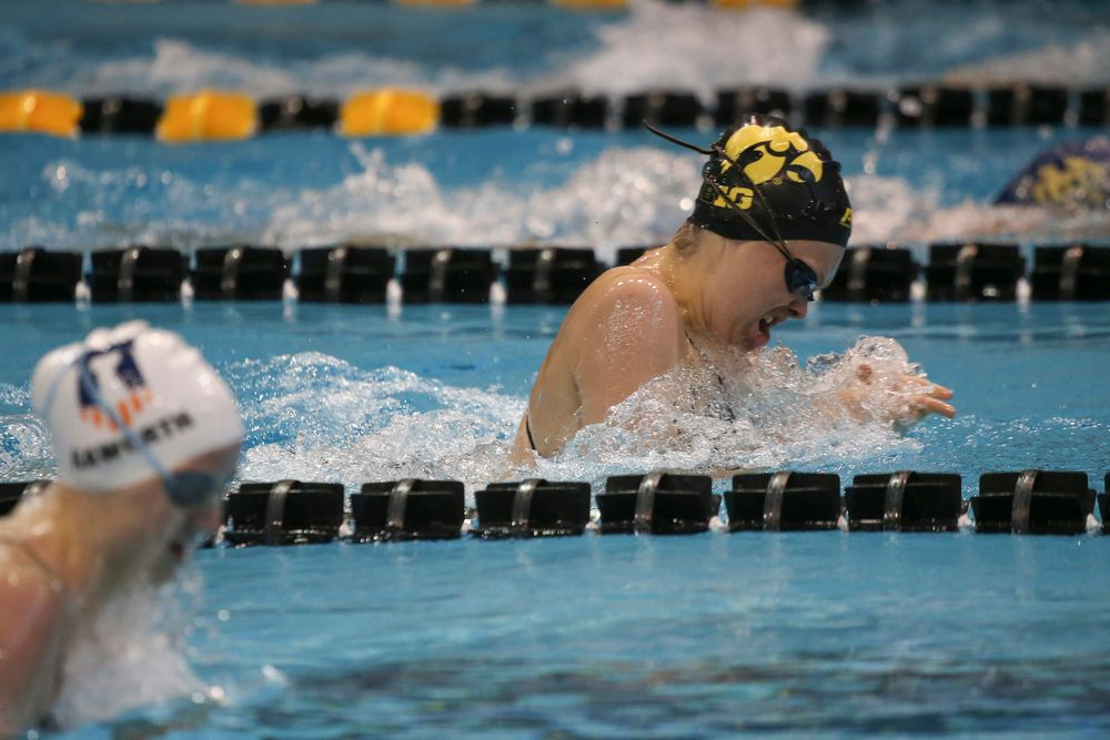 Iowa's Lexi Horner swims the 100-yard breaststroke during the Iowa swimming and diving meet vs Notre Dame and Illinois on Saturday, January 11, 2020 at the Campus Recreation and Wellness Center. (Lily Smith/hawkeyesports.com)