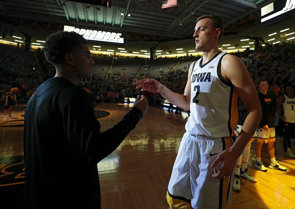 Iowa Hawkeyes forward Jack Nunge (2) is introduced before their game at Carver-Hawkeye Arena in Iowa City on Friday, Nov 8, 2019. (Stephen Mally/hawkeyesports.com)
