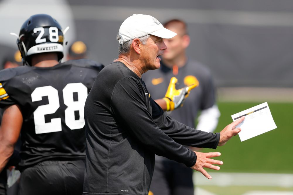 Iowa Hawkeyes head coach Kirk Ferentz  during practice No. 7 of fall camp Friday, August 10, 2018 at the Kenyon Football Practice Facility. (Brian Ray/hawkeyesports.com)