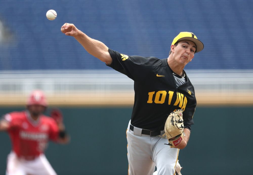 Iowa Hawkeyes Jason Foster (27) against the Nebraska Cornhuskers in the first round of the Big Ten Baseball Tournament Friday, May 24, 2019 at TD Ameritrade Park in Omaha, Neb. (Brian Ray/hawkeyesports.com)