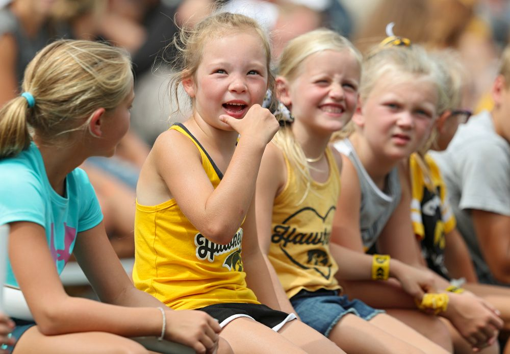 Young fans watch Fall Camp Practice No. 8 at Kids Day at Kinnick Stadium in Iowa City on Saturday, Aug 10, 2019. (Stephen Mally/hawkeyesports.com)