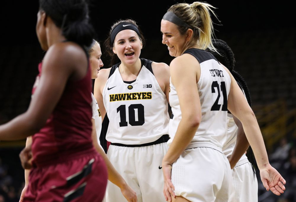 Iowa Hawkeyes forward Megan Gustafson (10) reacts after being fouled while shooting during a game against North Carolina Central at Carver-Hawkeye Arena on November 17, 2018. (Tork Mason/hawkeyesports.com)