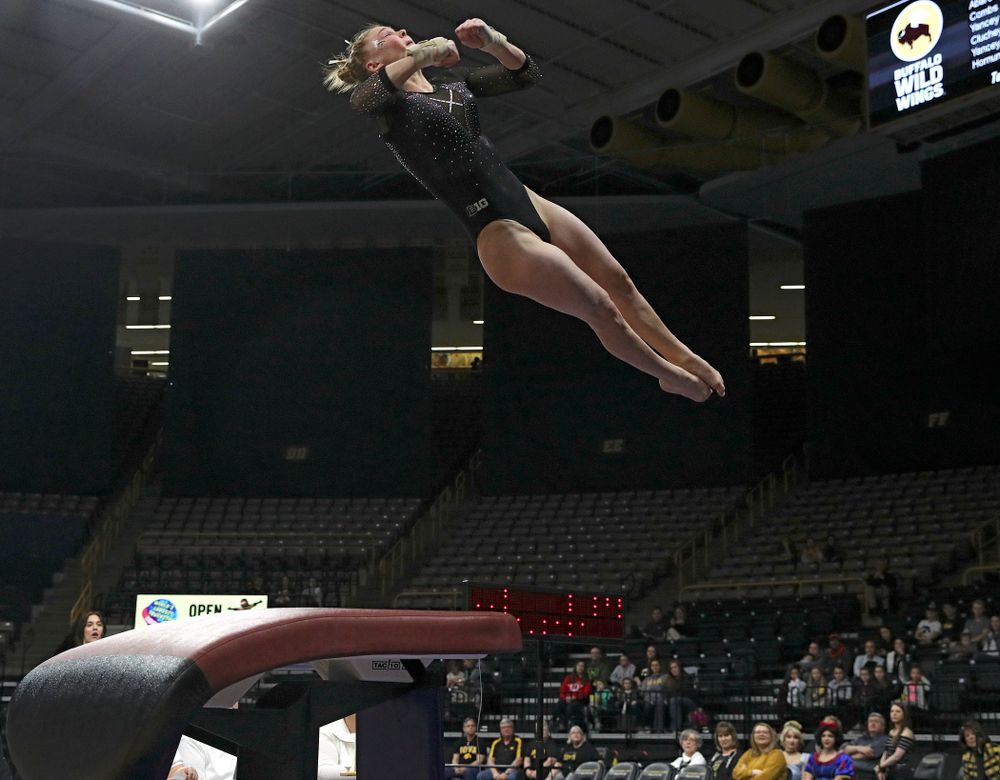 Iowa's Allyson Steffensmeier competes on the vault during their meet at Carver-Hawkeye Arena in Iowa City on Sunday, March 8, 2020. (Stephen Mally/hawkeyesports.com)