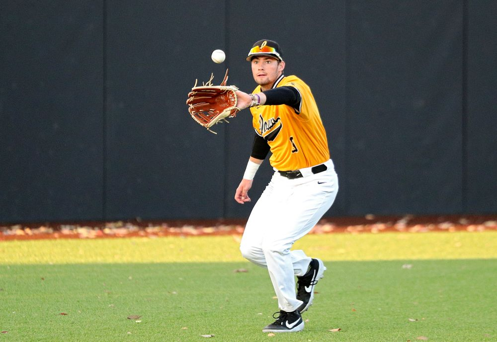 Iowa outfielder Ben Norman (9) fields a hit during the seventh inning of the first game of the Black and Gold Fall World Series at Duane Banks Field in Iowa City on Tuesday, Oct 15, 2019. (Stephen Mally/hawkeyesports.com)