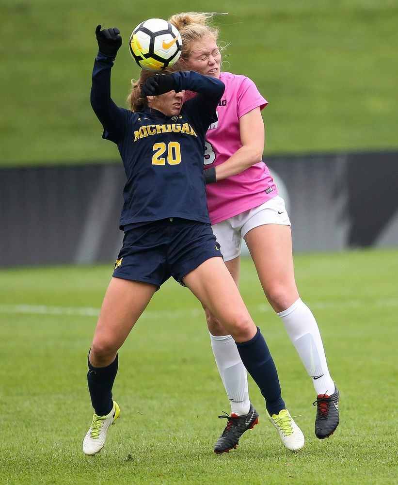 Iowa Hawkeyes defender Morgan Kemerling (3) heads the ball during a game against Michigan at the Iowa Soccer Complex on October 14, 2018. (Tork Mason/hawkeyesports.com)