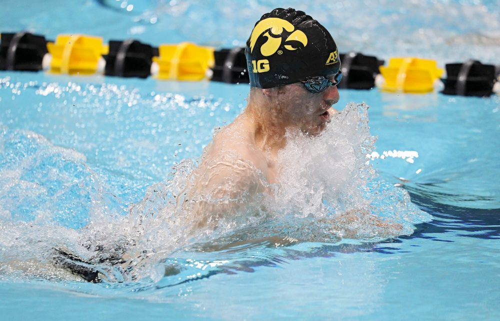 Iowa's Tom Schab swims the men's 50-yard breaststroke event during their meet against Michigan State at the Campus Recreation and Wellness Center in Iowa City on Thursday, Oct 3, 2019. (Stephen Mally/hawkeyesports.com)