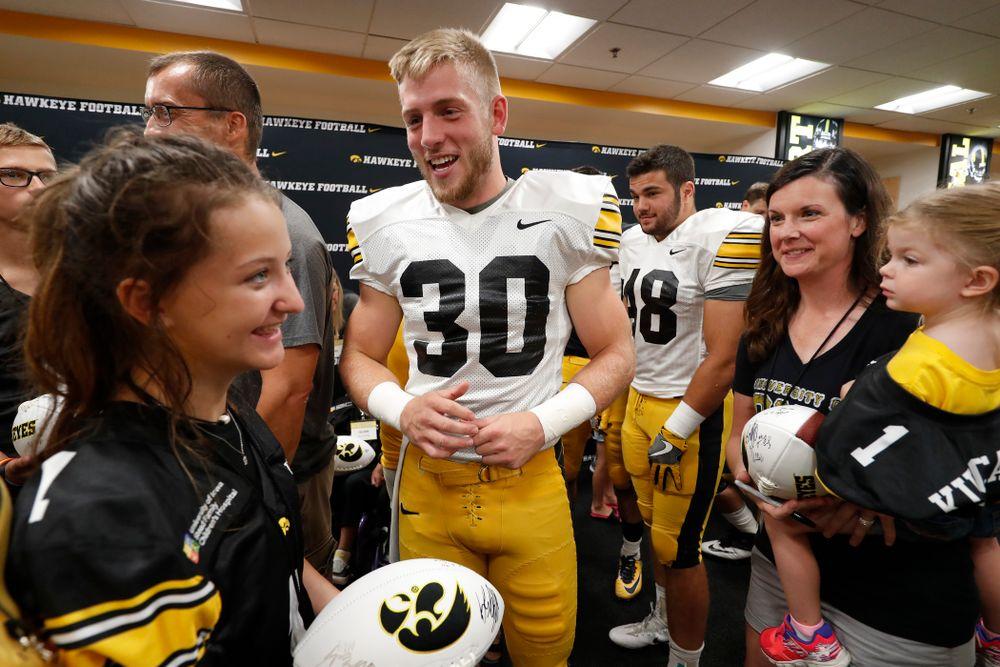 Iowa Hawkeyes defensive back Jake Gervase (30) during Kids Day Saturday, August 11, 2018 at Kinnick Stadium. (Brian Ray/hawkeyesports.com)