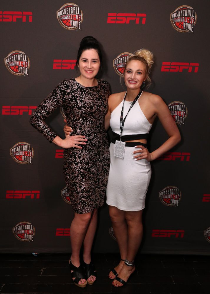 Iowa Hawkeyes forward Megan Gustafson (10) and her sister Emily before the ESPN College Basketball Awards show Friday, April 12, 2019 at The Novo at LA Live.  (Brian Ray/hawkeyesports.com)