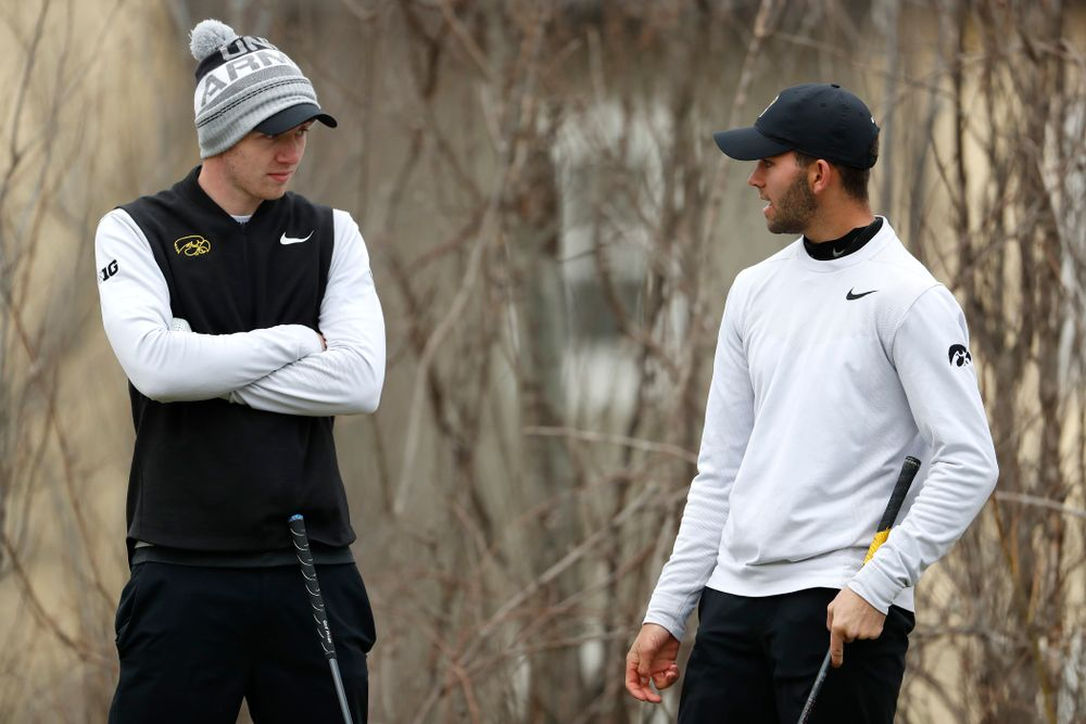 Jake Rowe and Jack Simpson during the 2018 Hawkeye Invitational  Friday, April 13, 2018 at Finkbine Golf Course. (Brian Ray/hawkeyesports.com)