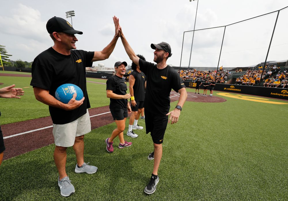 Head Men's Golf Coach Tyler Stith during the Iowa Student Athlete Kickoff Kickball game  Sunday, August 19, 2018 at Duane Banks Field. (Brian Ray/hawkeyesports.com)
