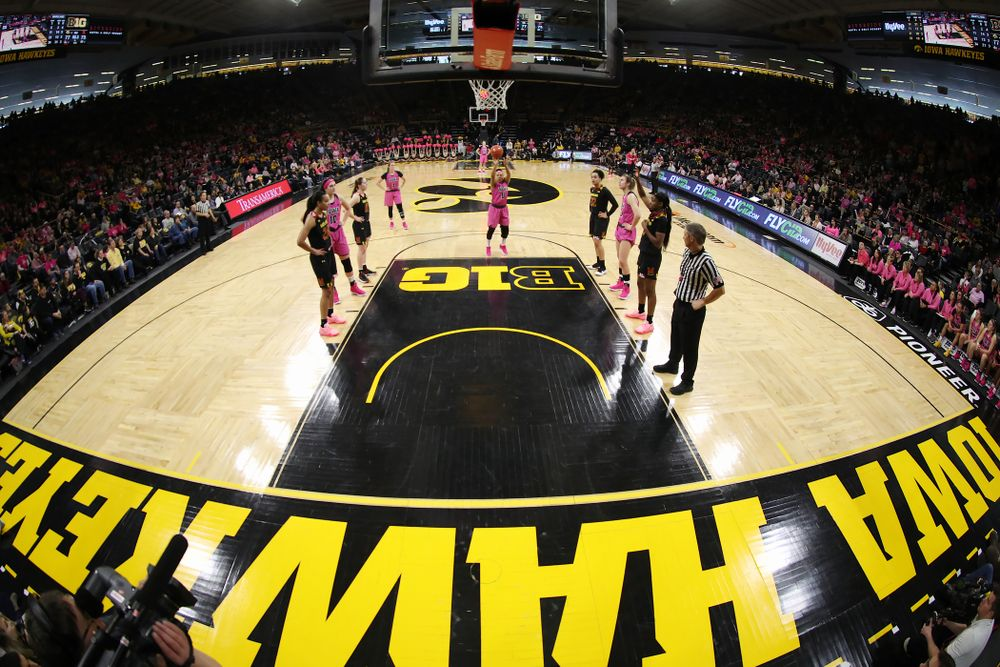Iowa Hawkeyes guard Tania Davis (11) shoots a free throw against the seventh ranked Maryland Terrapins Sunday, February 17, 2019 at Carver-Hawkeye Arena. (Brian Ray/hawkeyesports.com)