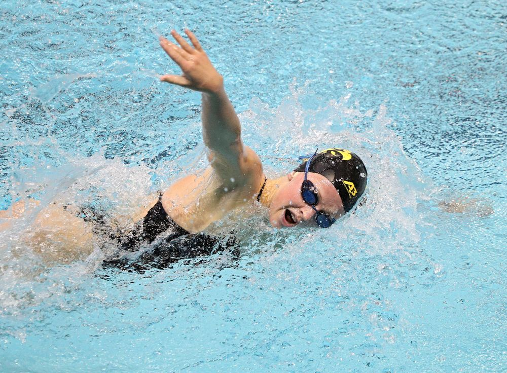 Iowa's Ariel Wooden swims the women's 200-yard freestyle event during their meet against Michigan State and Northern Iowa at the Campus Recreation and Wellness Center in Iowa City on Friday, Oct 4, 2019. (Stephen Mally/hawkeyesports.com)