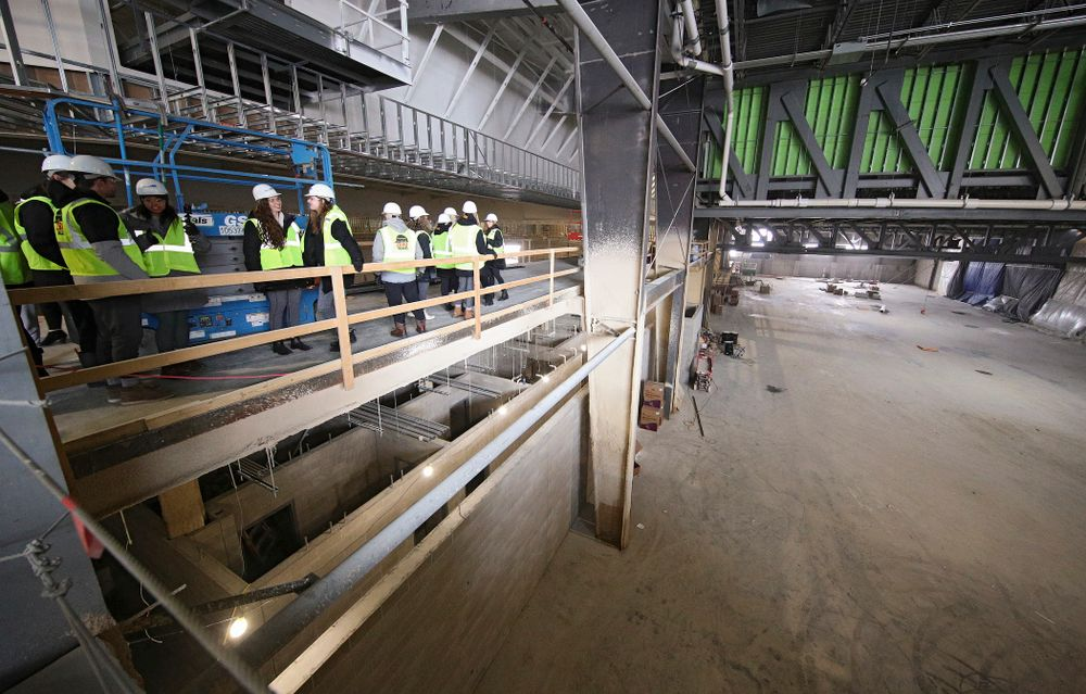 The Iowa Volleyball team and staff look at the GreenState Family Fieldhouse as they take a construction tour of Xtream Arena in Coralville on Thursday, January 30, 2020. (Stephen Mally/hawkeyesports.com)