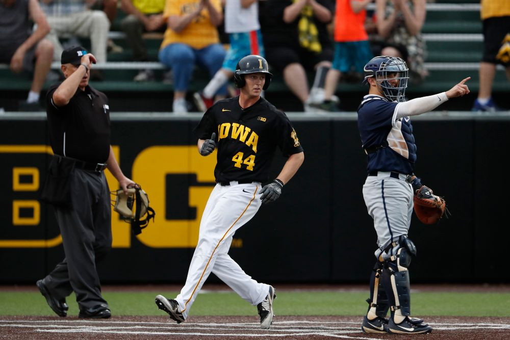 Iowa Hawkeyes outfielder Robert Neustrom (44)  against the Penn State Nittany Lions Friday, May 18, 2018 at Duane Banks Field. (Brian Ray/hawkeyesports.com)