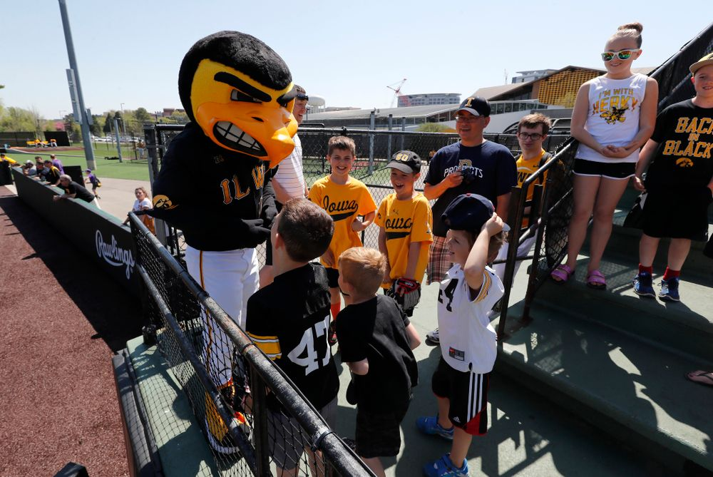 Herky the Hawk entertains the kids during the Iowa Hawkeyes game against the Oklahoma State Cowboys Sunday, May 6, 2018 at Duane Banks Field. (Brian Ray/hawkeyesports.com)