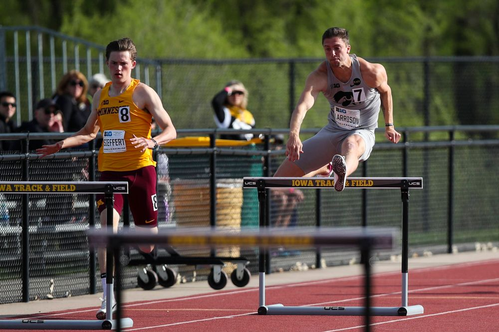 Iowa's Noah Larrison hurdles during the men's 400-meter hurdles at the Big Ten Outdoor Track and Field Championships at Francis X. Cretzmeyer Track on Friday, May 10, 2019. (Lily Smith/hawkeyesports.com)