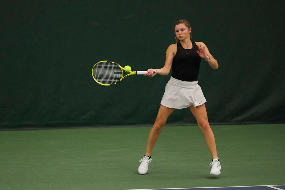 IowaÕs Danielle Burich at womenÕs tennis senior day vs Nebraska on Saturday, April 13, 2019 at the Hawkeye Tennis and Recreation Complex. (Lily Smith/hawkeyesports.com)