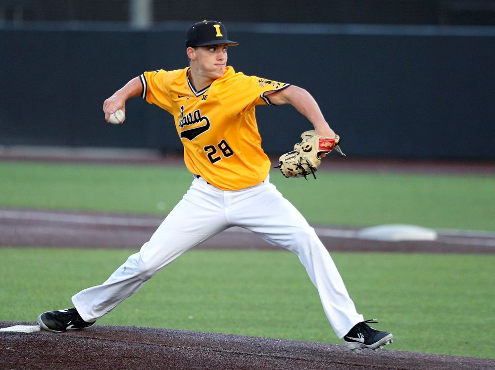 Iowa pitcher Sam Goodman (28) delivers to the plate during the seventh inning of the first game of the Black and Gold Fall World Series at Duane Banks Field in Iowa City on Tuesday, Oct 15, 2019. (Stephen Mally/hawkeyesports.com)