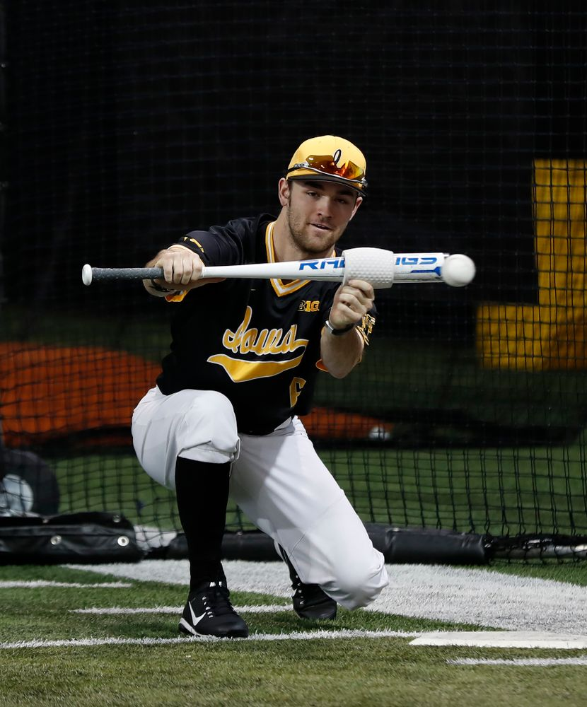 Iowa Hawkeyes outfielder Justin Jenkins (6) during the team's annual media day Thursday, February 8, 2018 in the indoor practice facility. (Brian Ray/hawkeyesports.com)