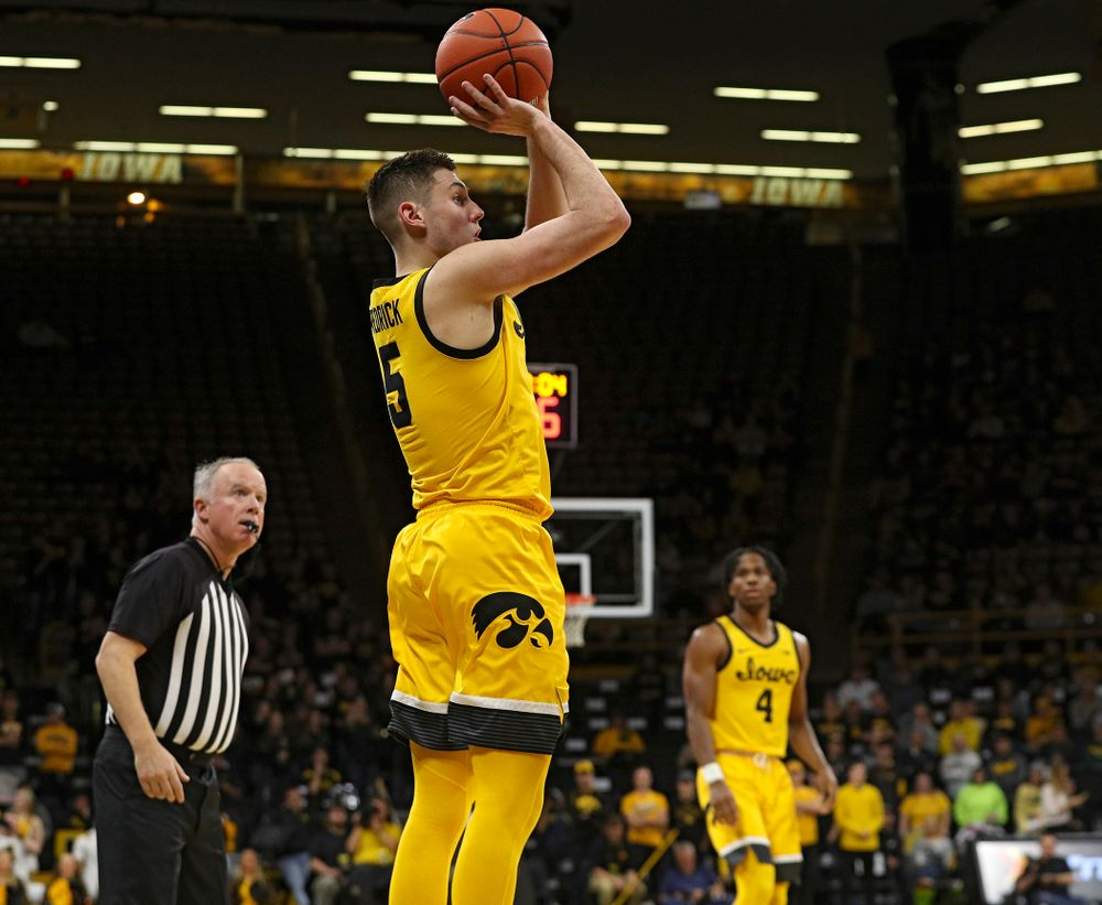 Iowa Hawkeyes guard CJ Fredrick (5) makes a basket during the second half of their game at Carver-Hawkeye Arena in Iowa City on Monday, Nov 11, 2019. (Stephen Mally/hawkeyesports.com)