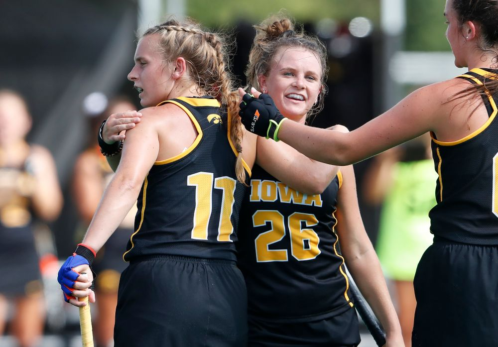 Iowa Hawkeyes Katie Birch (11) and Maddy Murphy (26) against Dartmouth Friday, August 31, 2018 at Grant Field.  (Brian Ray/hawkeyesports.com)
