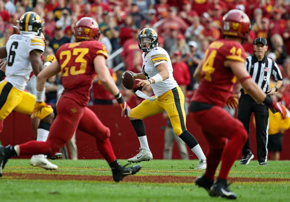 Iowa Hawkeyes quarterback Nate Stanley (4) scrables during the second quarter of their Iowa Corn Cy-Hawk Series game at Jack Trice Stadium in Ames on Saturday, Sep 14, 2019. (Stephen Mally/hawkeyesports.com)