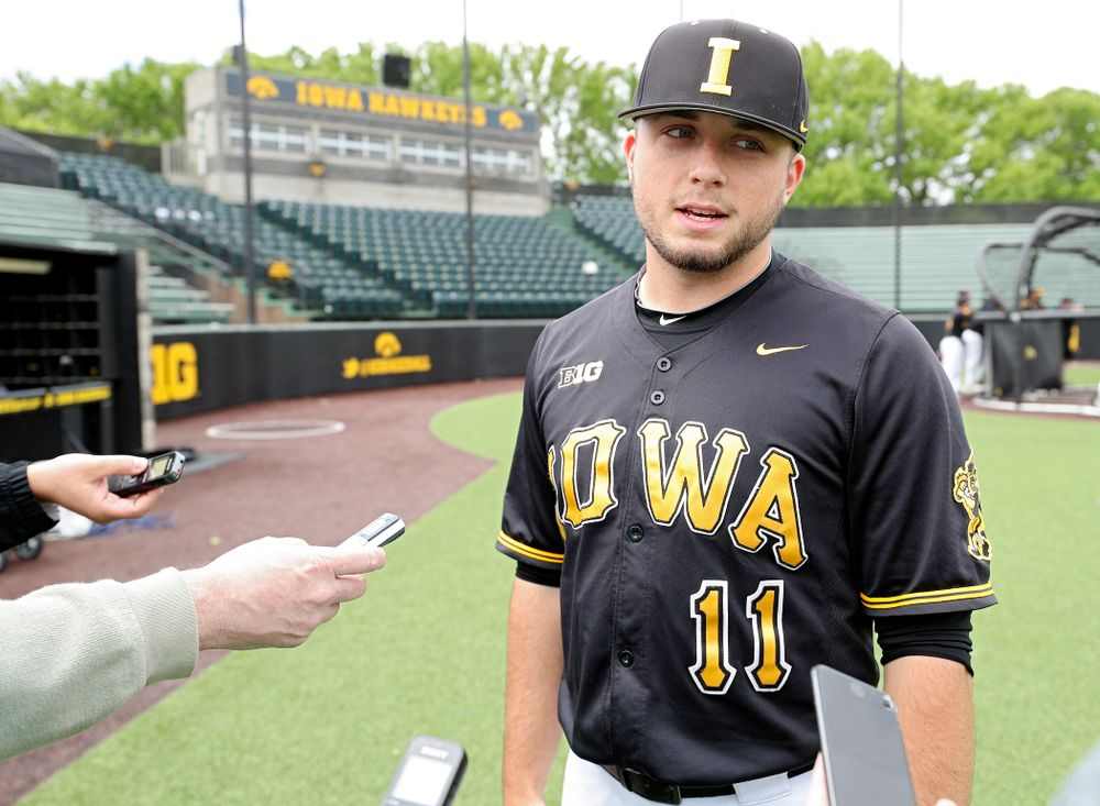 Iowa's Cole McDonald answers questions from the media at Duane Banks Field in Iowa City on Monday, May 20, 2019. (Stephen Mally/hawkeyesports.com)