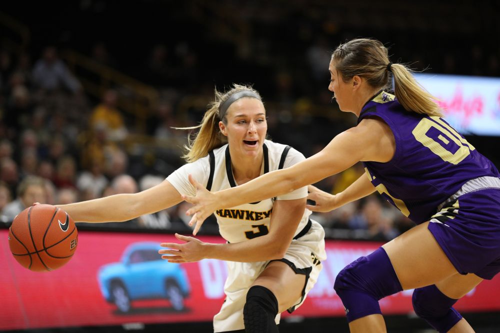 Iowa Hawkeyes guard Makenzie Meyer (3) against North Alabama Thursday, November 14, 2019 at Carver-Hawkeye Arena. (Brian Ray/hawkeyesports.com)
