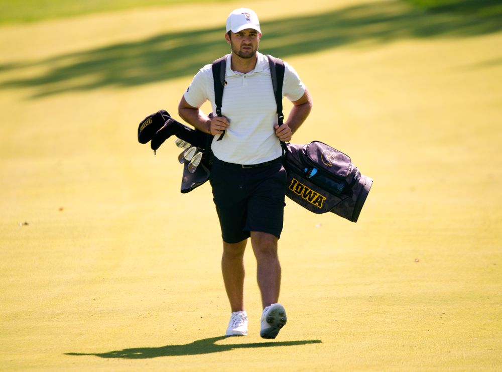 Iowa's Gonzalo Leal walks down the fairway during the second day of the Golfweek Conference Challenge at the Cedar Rapids Country Club in Cedar Rapids on Monday, Sep 16, 2019. (Stephen Mally/hawkeyesports.com)
