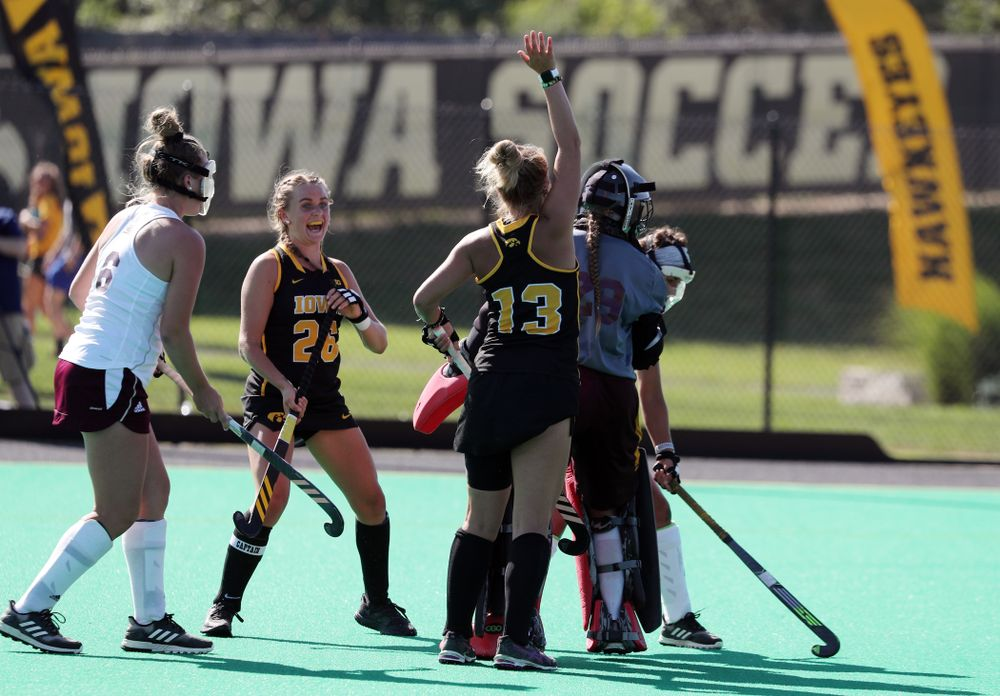 Iowa Hawkeyes forward Leah Zellner (13) and forward Maddy Murphy (26) celebrate a goal against Central Michigan Friday, September 6, 2019 at Grant Field. The Hawkeyes won the game 11-0. (Brian Ray/hawkeyesports.com)