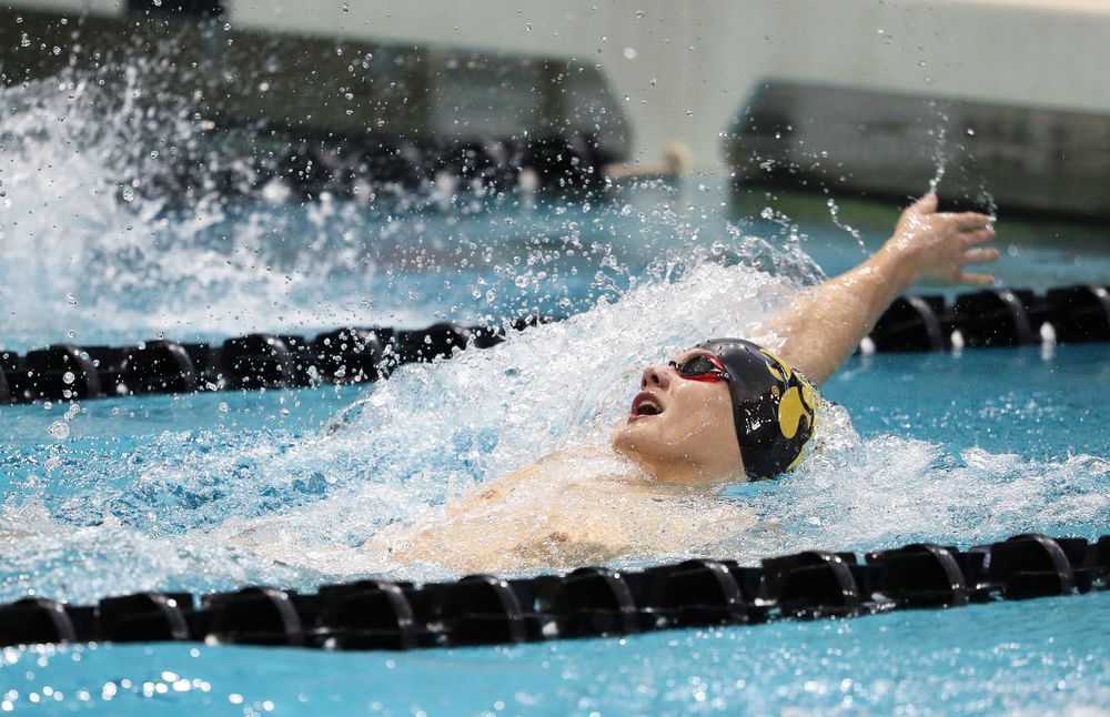 Iowa's Anze Fers Erzen competes in the 200-yard backstroke during a meet against Michigan and Denver at the Campus Recreation and Wellness Center on November 3, 2018. (Tork Mason/hawkeyesports.com)