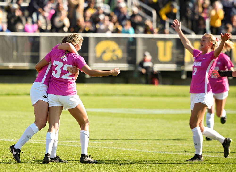 Iowa forward Gianna Gourley (32) celebrates her goal during the second half of their match at the Iowa Soccer Complex in Iowa City on Sunday, Oct 27, 2019. (Stephen Mally/hawkeyesports.com)