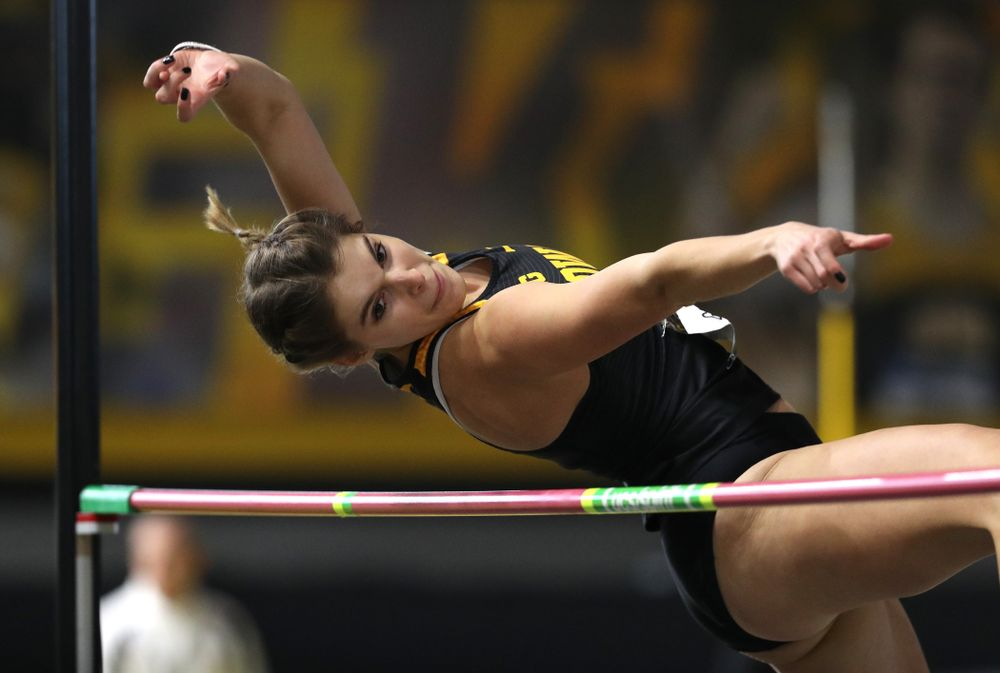 Iowa's Maria Gorham competes in the high jump during the 2019 Larry Wieczorek Invitational  Friday, January 18, 2019 at the Recreation Building. (Brian Ray/hawkeyesports.com)