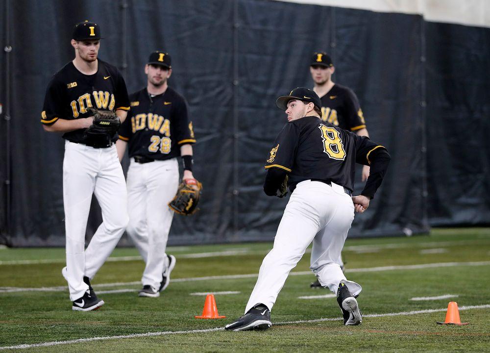 Luke Farley at first baseball practice on Jan. 25, 2019. (Darren Miller/hawkeyesports.com)