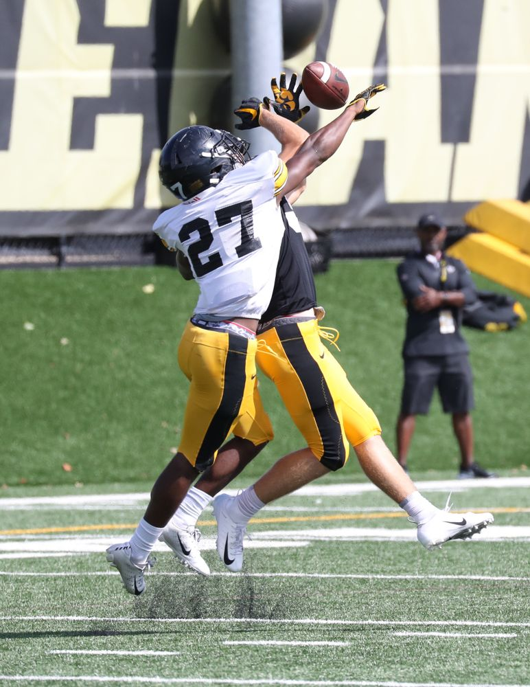 DB Jermari Harris (27) breaks up a pass during 1-on-1's
