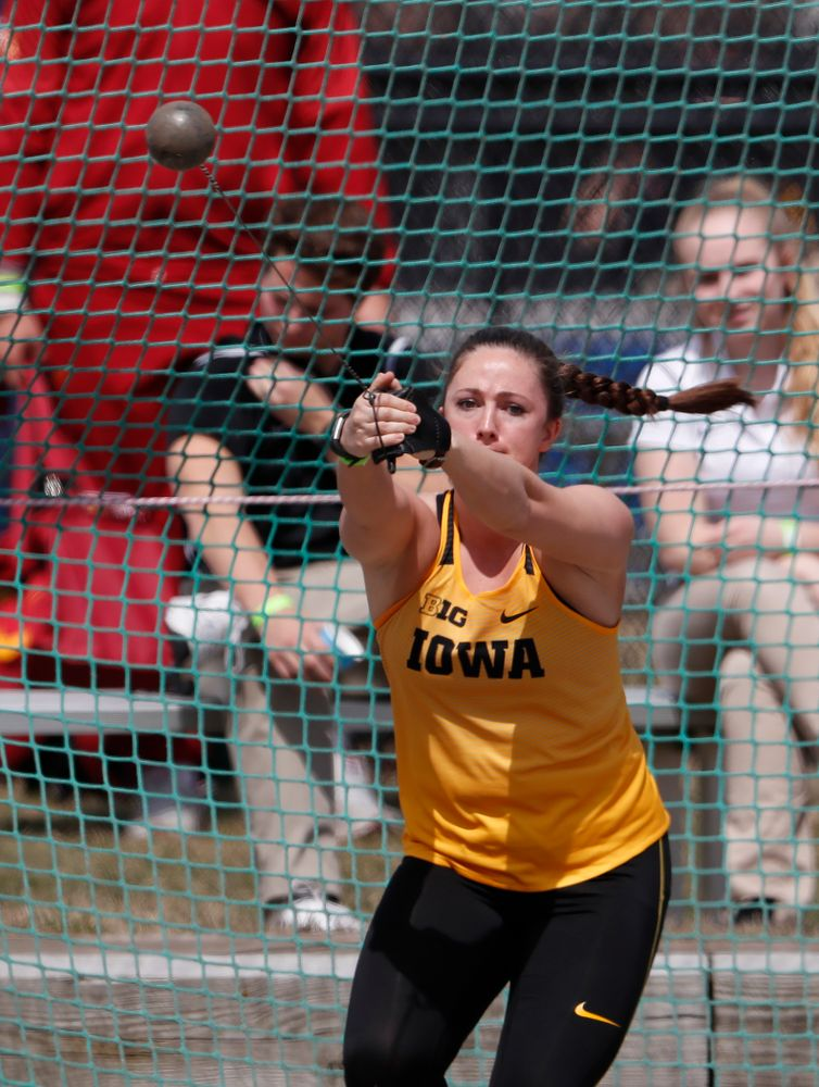 Iowa's Leah Colbert competes in the hammer throw during the 2018 MUSCO Twilight Invitational  Thursday, April 12, 2018 at the Cretzmeyer Track. (Brian Ray/hawkeyesports.com)
