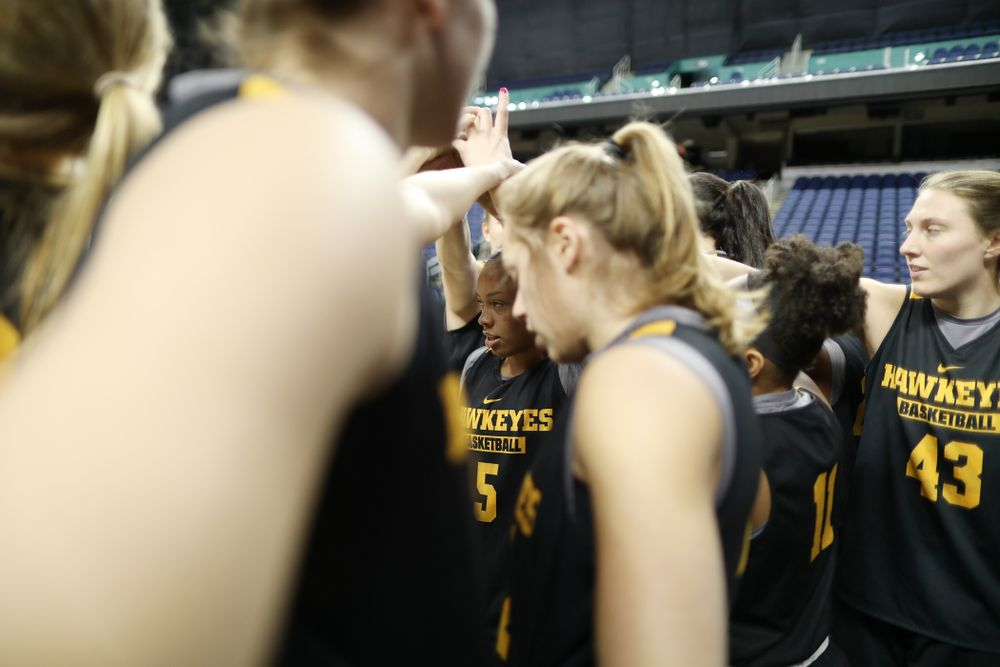 Iowa Hawkeyes guard Alexis Sevillian (5) during practice and media before the regional final of the 2019 NCAA Women's College Basketball Tournament against the Baylor Bears Sunday, March 31, 2019 at Greensboro Coliseum in Greensboro, NC.(Brian Ray/hawkeyesports.com)