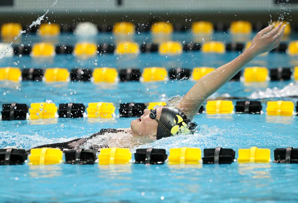 Iowa's Sarah Schemmel swims the backstroke section of the 100-yard individual medley event during their meet against Michigan State at the Campus Recreation and Wellness Center in Iowa City on Thursday, Oct 3, 2019. (Stephen Mally/hawkeyesports.com)