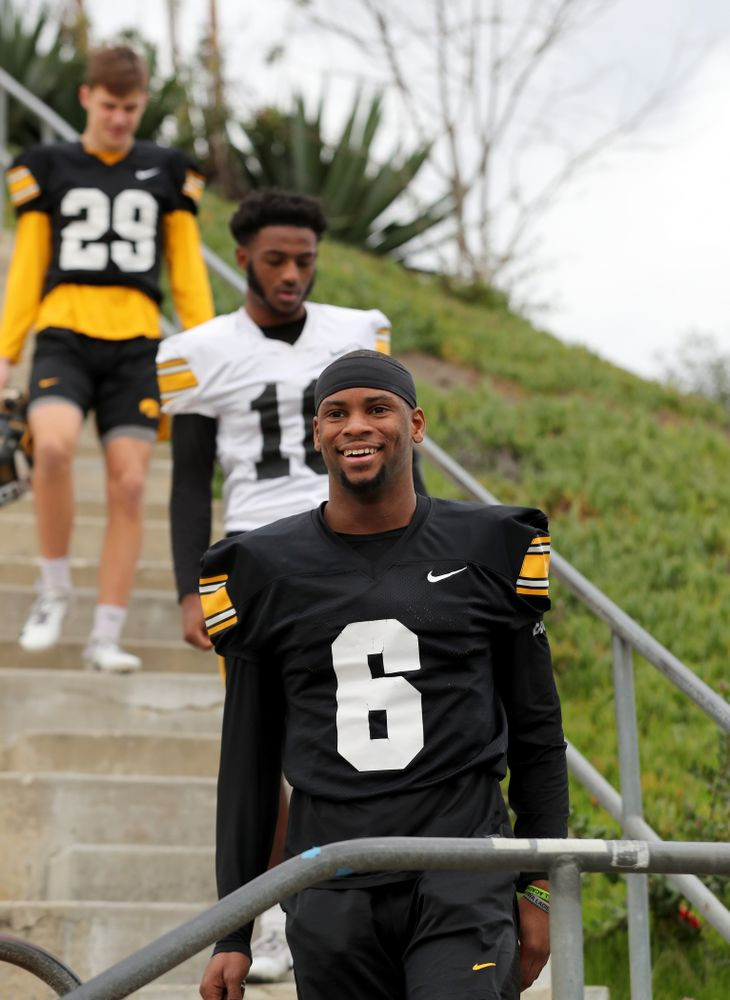 Iowa Hawkeyes wide receiver Ihmir Smith-Marsette (6) before practice Sunday, December 22, 2019 at Mesa College in San Diego. (Brian Ray/hawkeyesports.com)