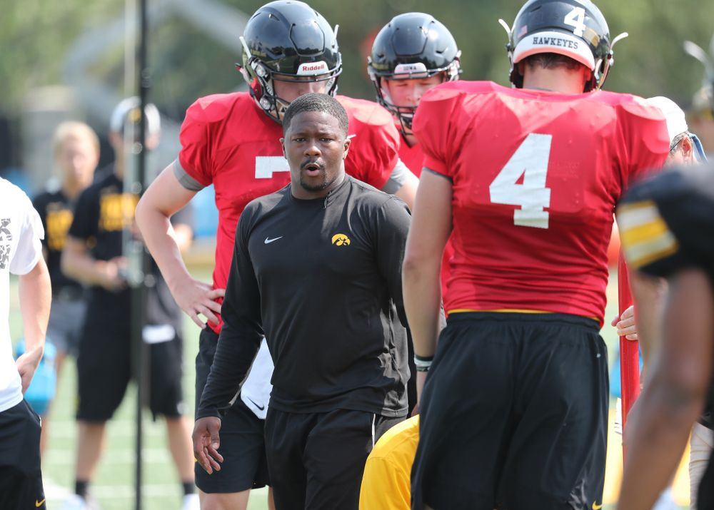 Iowa Hawkeyes running backs coach Derrick Foster during the third practice of fall camp Sunday, August 5, 2018 at the Kenyon Football Practice Facility. (Brian Ray/hawkeyesports.com)