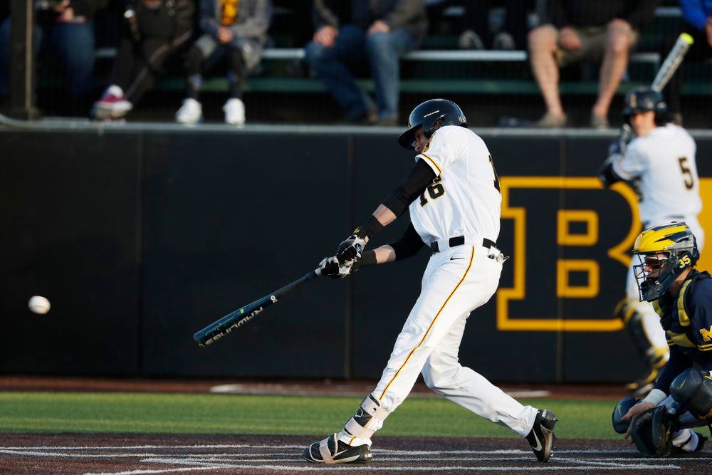 Iowa Hawkeyes infielder Tanner Wetrich (16)  against the Michigan Wolverines Friday, April 27, 2018 at Duane Banks Field in Iowa City. (Brian Ray/hawkeyesports.com)